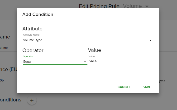 Volume pricing rule condition