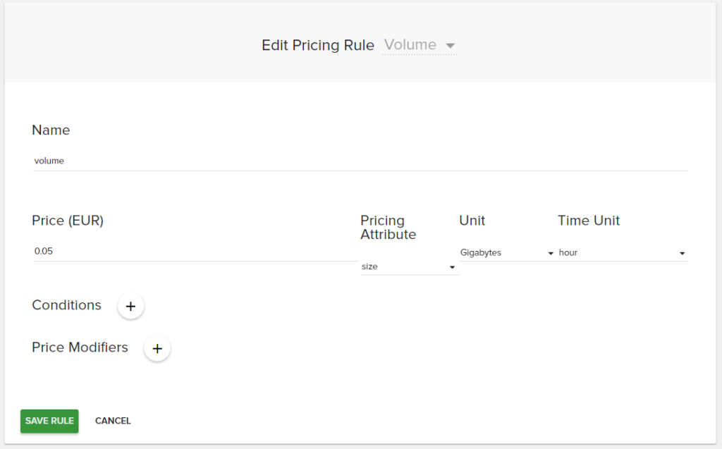 Add OpenStack volume pricing rule
