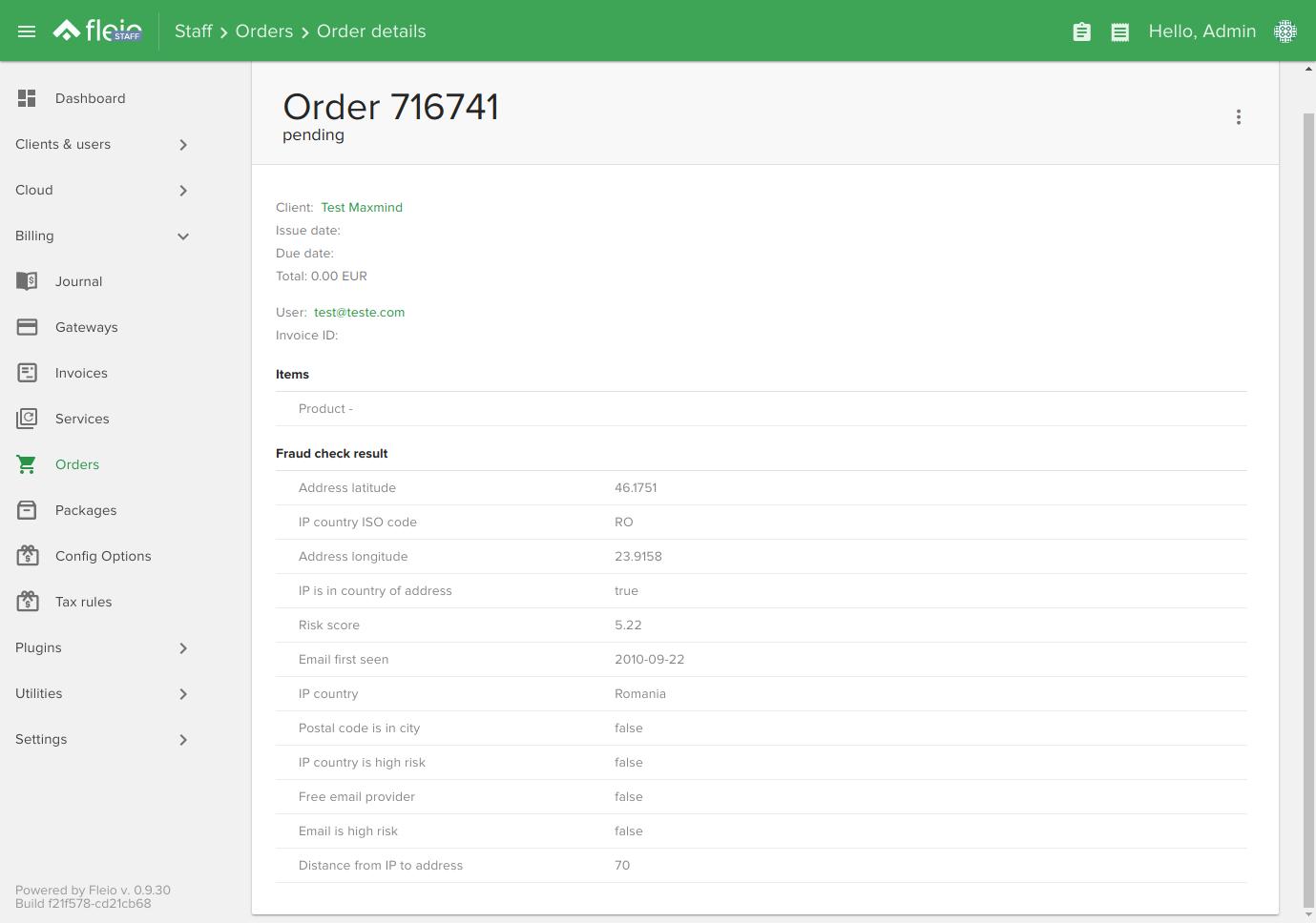 MaxMind order fraud check