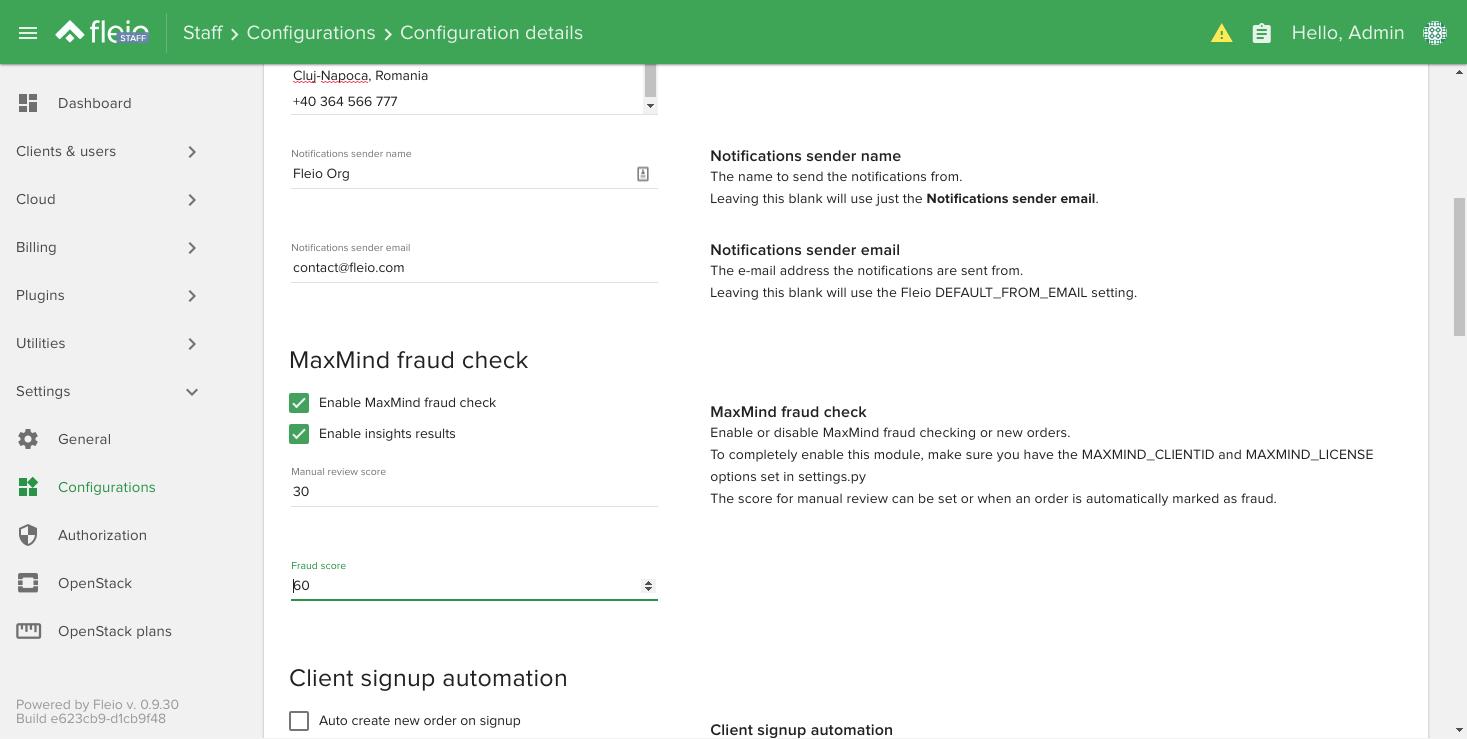 MaxMind fraud check settings