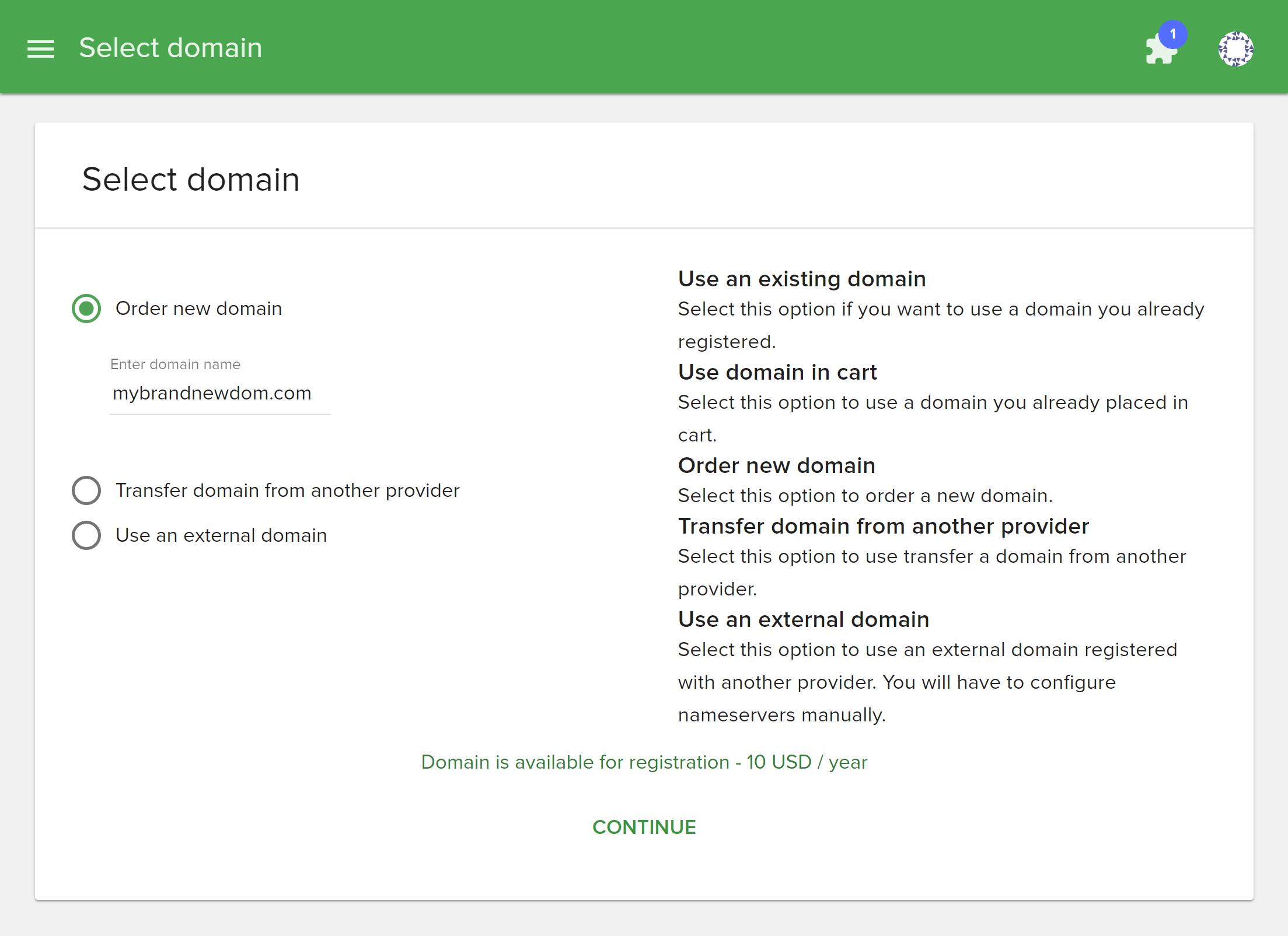 Select domain registration option